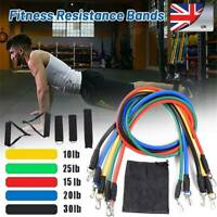Resistance Bands Workout Exercise Yoga 11Pcs Crossfit Fitness Training Tubes UK