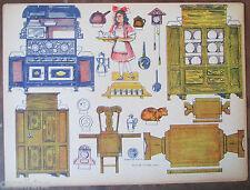 Rare 5 Sheets Vintage Uncut Cardstock Kitchen Furniture Appliances and More!
