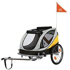 Fahrrad Hunde Anhänger Trixie gro�Ÿ Front/Hecktür grau gelb schwarz 12807