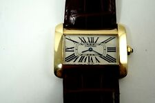 CARTIER TANK DIVAN 18K YELLOW GOLD LARGE LADIES QUARTZ MINT DATES 2010