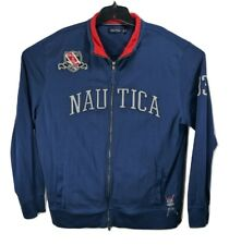 Nautica Mens Size XL Spell Out Sailing Patch Embroidered Track Jacket Blue Zip