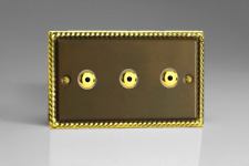 VARILIGHT 3-gang LED IR Dimmer Light Switch Remote/touch Master 1-way Twin Brass