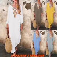Maxi dress robe caftan djellaba col collier été plage boho chic mode modeste