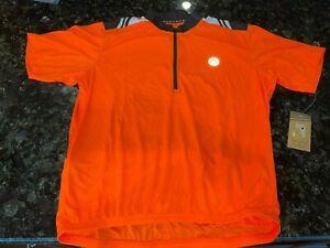 NWT Canari HiViz 1/4 Zip Cycling Jersey Short Sleeve Orange Mens Size 2XL