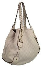 Authentic GUCCI Pelham Shoulder Cream Leather Hardware Hobo Bag PRE-OWNED