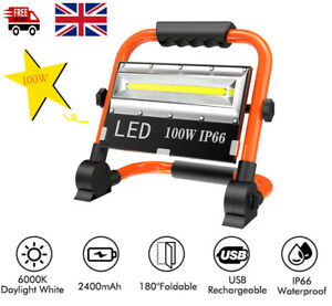 100W LED Rechargeable Work Site Flood Light Mobile Portable IP66 Camping Lamp UK