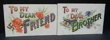 Vintage lot 2 postcards early 1900's Embossed Dear Brother good luck gold trim
