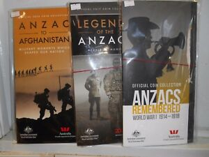 2015, 2016 2017 2018 OFFICIAL ANZAC ALBUMS & DISPLAY FOLDERS 4 X 14 COIN SETS