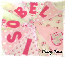 Baby Girl Personalised Name BUNTING Luxury DESIGNER Vintage Fabric Pink Green