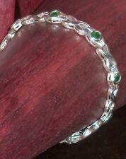 Women's Sterling Silver Link Bracelet Green Stones Solid Sterling