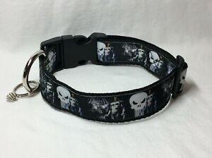 Dog Collars by Bella Custom Adjustable Homemade Punisher Black #5827