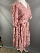 Somerset By Alice Temperley UK 10 Dusky Pink Lace Overlay Fit Flare A Line Event