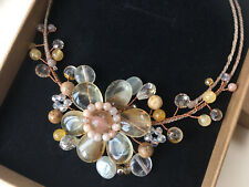BNIB, Semi-precious Stone Crystal Flower Necklace, Yellow Earth Tones Choker