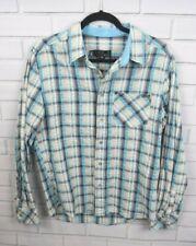 Paul Frank M Blue White Plaid Button Front Cotton Shirt