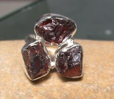 Sterling silver triple ROUGH GARNET ring UK K¾-L/US 5.75. Gift bag.