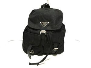 Auth PRADA Black Nylon Leather Backpack