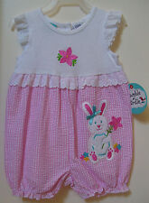 Girls Bumble and & Birdie White Pink Gingham Bunny Rabbit Romper Sz 12M Nwt