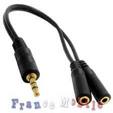 Câble Audio Son Stéréo Prise Mini Jack 3,5mm Mâle vers Double Prise Femelle Noir