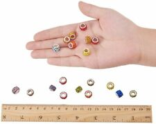 10 Large Hole Beads European Glass Big Spacers Crystal Assorted Lot Mix 10mm