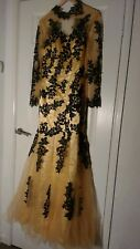 Black and Gold evening dress Size 12 Ball gown with Tulle and Lace details.