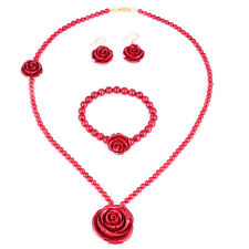 """30mm Simulated Red Coral Bead Rose Stretch 7"""" Bracelet 22"""" Necklace Earrings Set"""