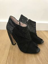 Amazing Miu Miu Black Suede & Glitter Peep Toe Ankle Boots UK 7.5 40.5