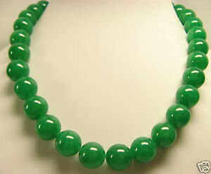 """AAA Natural Beautiful 12mm  Green Jade Round Beads Necklace 18"""""""
