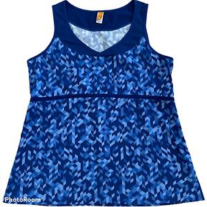 Lucy Activewear Sleeveless Tank Top - Blue Geometric Print - Size XL