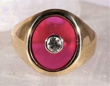 Vintage.17 CT Diamond & Ruby Men's Ring 14K Yellow Gold Size 10.25