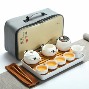 Chinese Travel Kung Fu Tea Set With Bag Ceramic Portable Ceremony Teacup