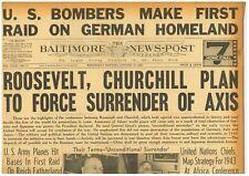 WW2 January 27 1943 Roosevelt Churchill Unconditional Surrender BNP 7 B6