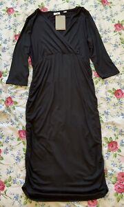 BNWT Mamalicious Black Maternity / Nursing dress Mlainy Tess Size L 12-14