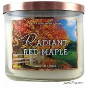Bath Body Works RADIANT RED MAPLE 3 Wick 14.5 oz Candle RARE HTF Smells So Good