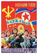 North KOREA Anti-American Propaganda Poster Print FLAG PEOPLE AKM A3 + #NK019