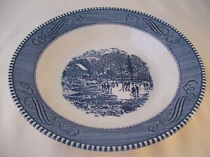 Vintage Royal China Blue Currier & Ives Rimmed Soup Pasta Bowl Early Winter USA
