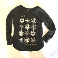 Old Navy Girls Long Sleeve Shirt Size Small Gray Snowflake Winter Top