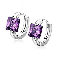 Womens silver Square Purple & White Zirconia Circle Hoop Earrings
