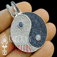 Real 10K White Gold Silver Custom Piece Yin Ying Yang Pendant Diamond Charm 2''
