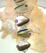 Marta Howell STER Silver BlackLip Mother of Pearl Amethyst Gemstone Bracelet #15