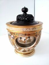 Hand Painted Japanese Satsuma Bowl with a Wooden Lid, one of the kind
