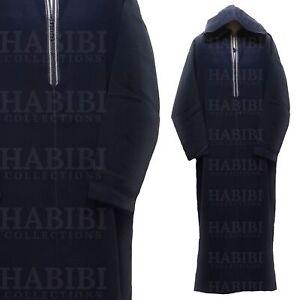 Moroccan Winter Wool Hooded Long Sleeve Thobe/Djelleba Navy Blue