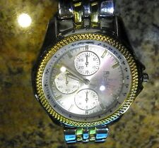 EUC MEN CHARLES DUMONT PARIS QUARTZ CHRONGRAPH WATCH GOLD BEZEL SILVER&GOLD BAND