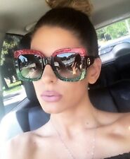 2018 Oversized Square Red Green Frame Sunglasses Gradient Lens Vintage Women A2