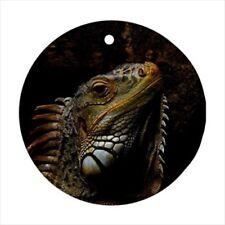 Iguana Round Porcelain Ornament - Holiday Seasons