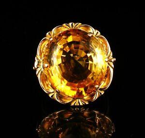 VINTAGE RETRO FINE NATURAL 15.0ct MADEIRA CITRINE SOLID 18K GOLD COCKTAIL RING
