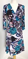Ladies Almost Famous blue grey pink print faux wrap dress. flower leaf. 10. bold