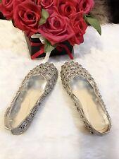 Stunning Crystal Embellished Leather Ballerina Cinderella Princess Girls Shoes