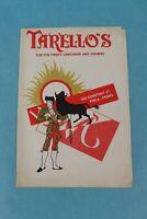 VINTAGE 1953 TARELLO'S SOUVENIR RESTAURANT DINNER MENU PHILADELPHIA, PA.
