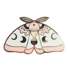 Celestial moth pin moon phase brooch magic pagan wicca badge gothic butterfly