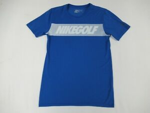NIKE GOLF DRI-FIT STRIPE LOGO BLUE SMALL ATHLETIC T-SHIRT C1715